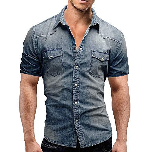 Herren Jeanshemd Stehkragen Funktionsshirt Button-Down Jeans Retro Hemd Business Hochzeit T-Shirt Sommer Kurzarm Shirt Casual Slim Fit Blau Freizeithemd -