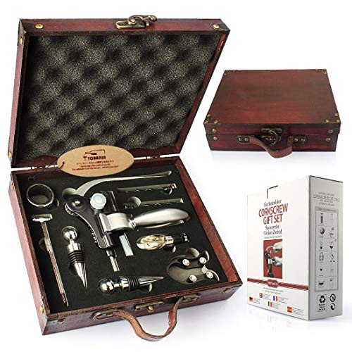 YOBANSA Caja de madera antigua accesorios para vino juego de regalo, kit de abrebotellas de vino de conejo, sacacorchos para vino, tapón de vino, vertedor de vino(9set 0A)