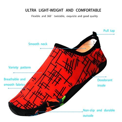 Mstar Unisex Scarpe Acqua Traspiranti Scarpe Aqua Leggere Ad Asciugatura Rapida Scarpe Da Sport Acquatici Morbide In 6 Colori Rosso