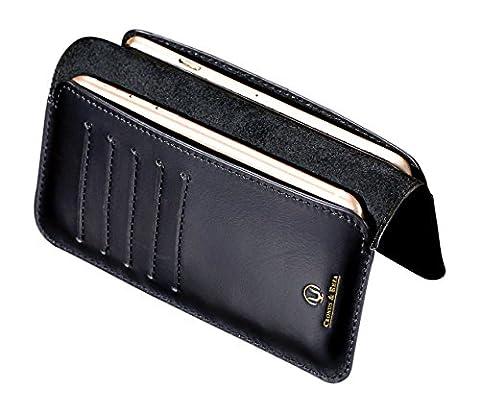 Cronus & Rhea® | Luxus Smartphone Geldbörse aus exklusivem Leder (Cerberus) | Apple iPhone 7 | Geldbeutel - Kartenhalter - Hülle | Echtleder | Mit eleganter Geschenkbox | Herren - Damen (Schwarz)