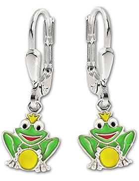 CLEVER SCHMUCK Silberne Ohrhänger 24 mm kleiner Frosch 7 mm mit Krone und Kugel grün gelb bunt lackiert glänzend...