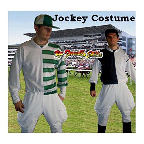 Kostüm Horse Racing - Schwarz & Weiß Jockey Kostüm Horse Racing
