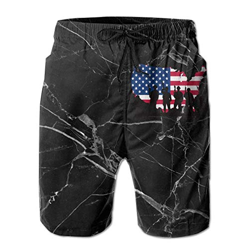 Jiger Remember Everyone Deployed Mens Beach Shorts Drawstring Bathing Suit L -