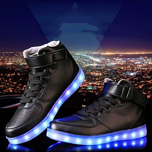 DoGeek LED Schuhe Kinder Damen 7 Farbe USB Aufladen Leuchtend Sportschuhe LED Kinder Farbwechsel Sneaker Turnschuhe für Herren Damen (Bitte Bestellen Sie eine Nummer grösser) Schwarz
