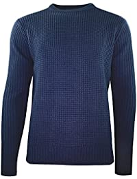 Duck and Cover Oban Crew Neck Textured Knit Jumper in Deep Navy
