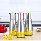 Botella Aceite Vinagrera con Dispensador de Aceite Girar Alta Precisión VidrioTransparente Acero Inoxidable para Aceite/Vinagre / Salsa (3 Piezas)