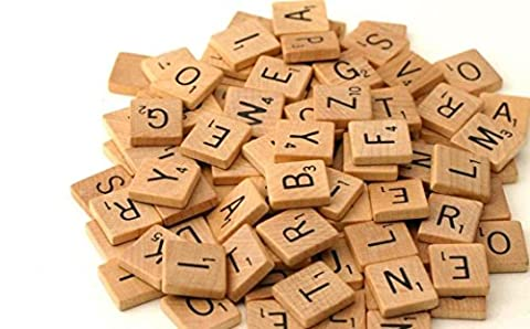 New UK Genuine 200 Quality Wood Scrabble Tiles Wooden Black Number Letters Alphabet Board Great For Crafts - Best Board
