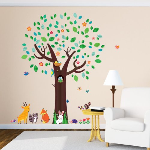 Decowall DM-1312 Big Tree e Animal Friends Wall Stickers