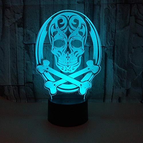 3D Illusion Nachtlampe Led Schädelform Kopf Licht Für Kinder Kinder Dekoration Geburtstag ()