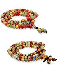 Flongo 6mm Bracelets Céramique Lien Poignet Buddha Mala Boule Perle Couple Amour Valentin Bijoux Cadeau pour Femme Homme
