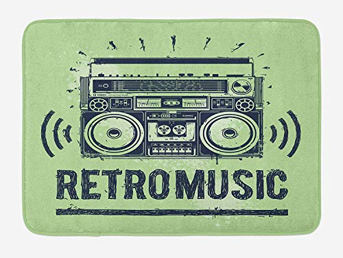 90s Bath Mat, Tape Recorder Psychedelic Equipment Nostalgic Sketch Style Artwork, Plush Bathroom Decor Mat with Non Slip Backing, 23.6 W X 15.7 W Inches, Pistachio Green Cadet Blue - Magic Recorder Tape