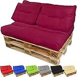 Palettenkissen-Set Lounge: Sitzkissen + langes Rückenkissen + 2 kurze Rückenkissen Sitzpolster für Europaletten Paletten-Sofa Wasser- und Schmutzabweisend Palettenauflage mit Wave-Steppung, Farbe:Beere