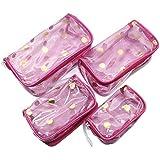 4 Pcs Different Size Clear Transparent Fashion Comestic Handbag Jewellery Kit/Make Up Kit/Multipurpose Kit With Transparent Pouches