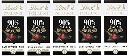 Lindt & Sprüngli Excellence Mild 90%, 5er Pack (5 x 100 - Edelbitter-schokolade Geschenk Gourmet