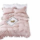 qianqian QIAN Koreanische Art Gewaschene Baumwolle Rüschen Einfarbig Einfach Prinzessin Stil Polyester Bettwäsche Bettbezug 4-Teiliges Set,A,200 * 230