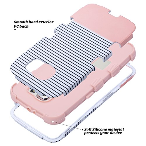 S6 Hülle, ULAK Galaxy S6 Hülle 3 Layer Hybrid Combo Innere Weiche Silikon Hart Plastik Anti-stoß Schutzhülle Tasche Case Cover für Ssmsuang Galaxy S6 (Rosé Gold + Grau) minimale Streifen - Roségold
