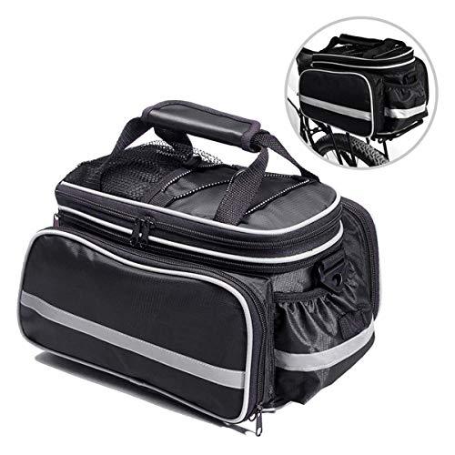 Fozela Fahrradtasche, Fahrrad Satteltasche Gepäcktasche Gepäckträger Tasche Rucksack Seitentasche mit wasserfester, reflektierender und Regenschutzdeckel