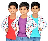Gkidz Girls Combo Of 3 Graphic Cotton Vest And Shrug Pack of 3 (GIRLS-3PCK-VEST-CMB-4-5-6Y_ Multicolor_5-6 Years)