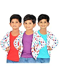 Gkidz Girls Combo Of 3 Graphic Cotton Vest And Shrug Pack of 3 (GIRLS-3PCK-VEST-CMB-4_ Multicolor)