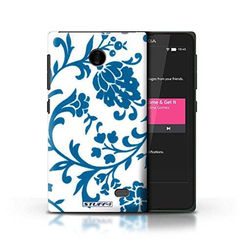 Kobalt® Imprimé Etui / Coque pour Nokia X / Fleurs Bleue conception / Série Motif floral Fleurs Bleue