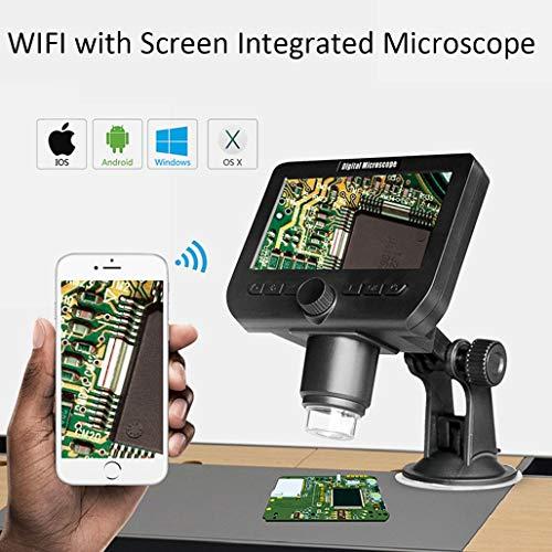 HWENJ Drahtloses Digitalmikroskop, 4,3-Zoll-LCD-WiFi-USB-Mikroskop, 50-fache Bis 1000-fache Zoomvergrößerung Endoskoplupe Mit HD 2MP-Bildsensor, Wiederaufladbarer Kamera-Videorecorder