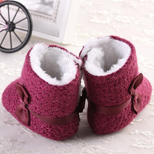 Ouneed® Krabbelschuhe , Baby Stricken Baumwolle Soft Sole Schnee Stiefel Soft Crib Schuhe Kleinkind Stiefel Lila