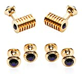 Rose Gold Blue Swarovski Barrel Formal Set Crystal Cufflinks Studs