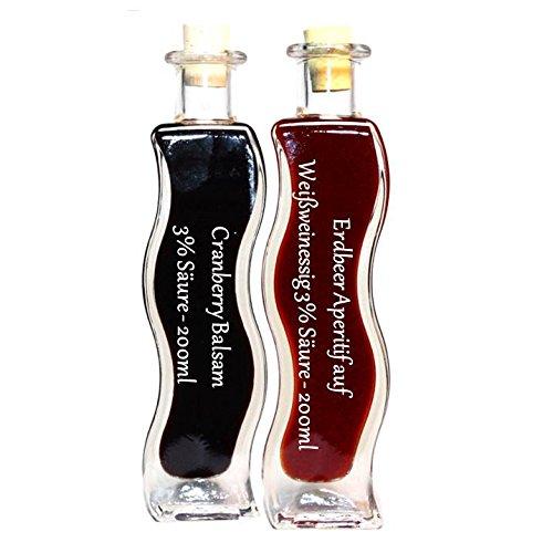 Geschenkset & Probierset in einer Schmuckflasche | 2 x 200ml Essig | Erdbeer Essig – Cranberry Balsam