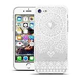 HULI Design Case Hülle für Apple iPhone 8 Plus Smartphone im Orientalischen Muster weiß - Schutzhülle aus Silikon mit orientalischem Mandala Muster Henna Ornament Traumfänger - Handyhülle mit Druck