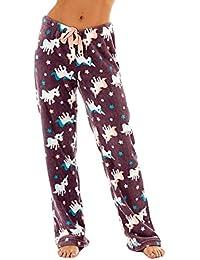 Selena Secrets Womens Fleece Star Design Pantalones Salón negro o crema