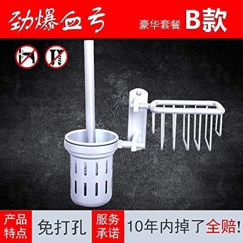 QiXian Punch Free Toilet Brush Kit Waschen Toilettenbürste Keine Blinden Flecken Reinigung Toilettenbürstenhalter Langer Griff Kreative Toilettenbürste Starke Robuste, 9462 (Blind-reinigungs-kit)