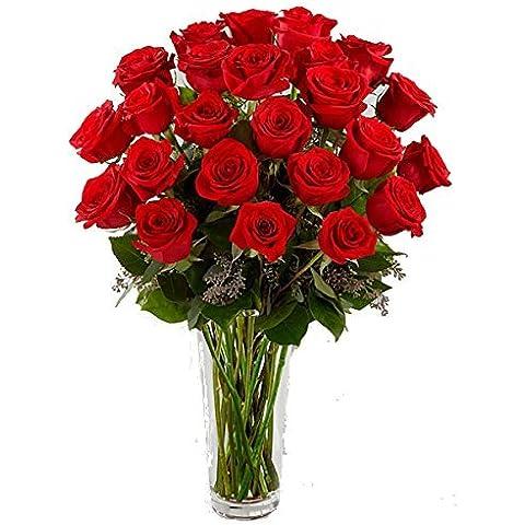 Oferta OTOÑO: Ramo de 24 rosas rojas naturales, frescas, envío urgente menos de 24 horas +TARJETA CON NOTA PERSONALIZADA GRATIS