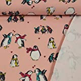 Stoffe Werning French Terry Pinguine rosa Kinderstoff