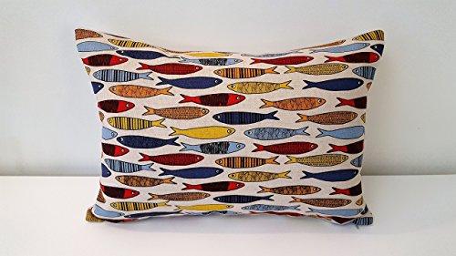 Handgefertigt Dekorative Sardinen Kissen Cover. Größe 35cm x 50cm und 45cm x 45cm. (Natürliche Dekorative Kissen)