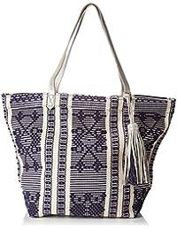 Esprit Women's Women's Blue Shopper Bag With Ethnic Embroidered Print Cotton