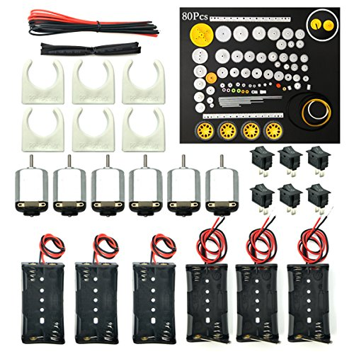 WOSKY 6 Set Rectangular Mini Electric 1.5-3V 24000RPM DC Motor with 80 Pcs Plastic Gears,Electronic Wire, 2 x AA Battery Holder,Motor Mounting Bracket,Boat Rocker Switch for DIY Science Projects (125v Motor)