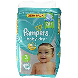 Pampers Baby Dry taille 3, 6-10kg, Mega Plus Pack, 136pièces