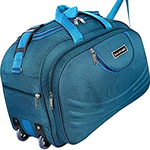 G GLINT BAG (Expandable) Waterproof Polyester Lightweight Luggage Travel Duffel Bag with 2 Wheels,40 Ltr-Blue-G27-40
