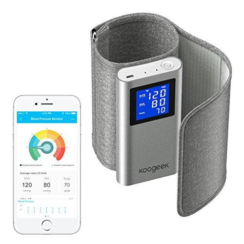 Koogeek Oberarm Blutdruckmessgerät FDA genehmigt Kabellos WiFi oder Bluetooth Connectivity mit Herzfrequenz-Erkennung und App für iOS und Android Grau