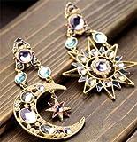 Jaywine2 1Paar Asymmetrische Antiallergic Cat 's Eye Opal Stone Star Moon Drop Frau Ohrring
