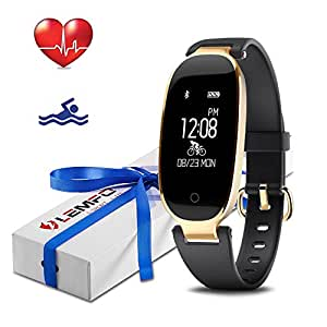 LEMFO Fitness Tracker Heart Rate Monitor Women Swimming Waterproof Activity Tracker Smartband Sleep Monitor Pedometer Smart Bracelet Wristband (Black)
