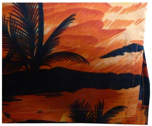 Original King Kameha | Funky Hawaiihemd | Herren | XS - 6XL | Kurzarm | Front-Tasche | Hawaii-Print | Surf Palmen Meer | Orange Orange
