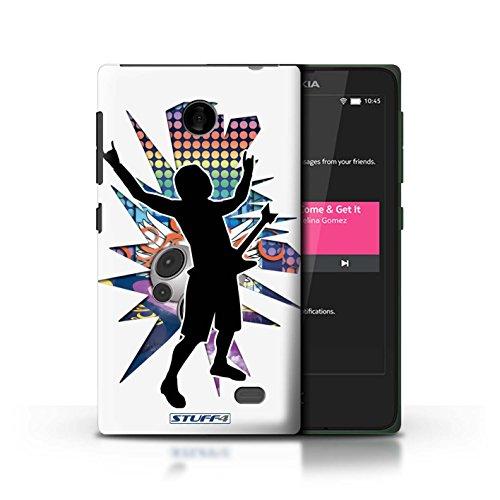 Kobalt® Imprimé Etui / Coque pour Nokia X / Chanteur Noir conception / Série Rock Star Pose Rock n Roll Blanc