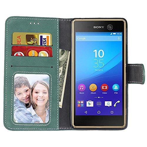 Solid Color PU Ledertasche horizontal mattiert Retro-Flip-Stand Case Wallet Fall weichen Silikon-Abdeckung mit Karte Cash Slots Foto Frame für Sony Xperia M4 Aqua E2303 E2333 E2353 ( Color : 6 , Size  4