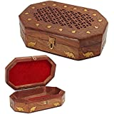 Wooden Box Jewelery Inlay Travailler avec Octal Forme 7X5, boîte de rangement, Box Vintage
