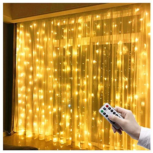 LED Lichtervorhang 3m x 3m, 300 LEDs USB Lichterkettenvorhang IP65 Wasserfest 8 Modi Lichterkette Warmweiß für Partydekoration Schlafzimmer Hochzeit Geburtstag Garten Fenster Innen und außen Deko