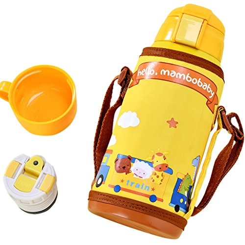Preisvergleich Produktbild GudeHome Baby Edelstahl Isolier-Flasche Thermosflasche Vakuum Becher mit Tragbaren Tasche, Gelb