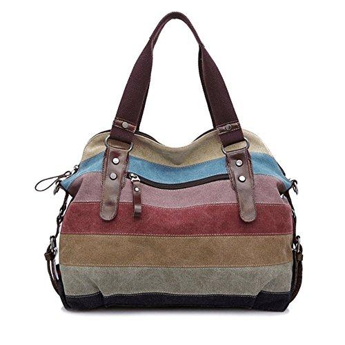 Candora® Multi-Color Striped Canvas Totes Handbag Women's Hobos and Shoulder Bags Damen Vintage Canvas Schultertasche Handtasche -