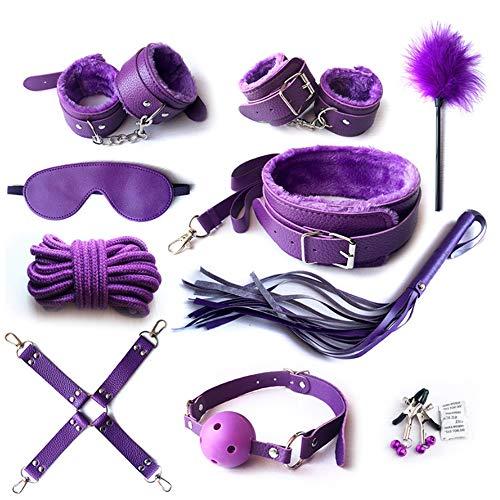 zvollen ledernen Plüsch-Satzes von 10, Rollenspiel-Partei-Geschenk-Paar-Spiel-Erwachsen-zusammengerolltes Geschlechts-Spielzeug-Geschlechtsspielwaren für SM-Liebhaber,Purple ()