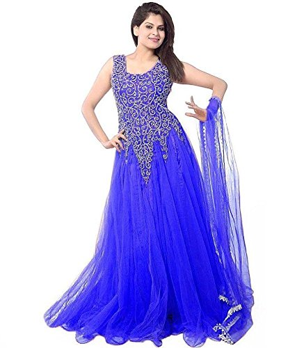 Super Deal Woman\'s Royal Blue Soft Net Anarkali Unstitched Free Size XXL Salwar Suits Sets Dress (Indian Clothing)